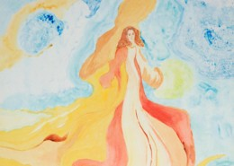 21x28 Matted Watercolor Monoprint $250.00